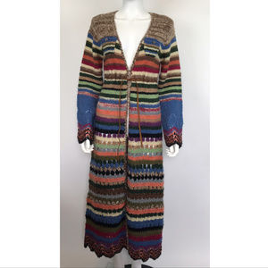 Relais Knitwear Multi-colored Crochet Maxi Sweater
